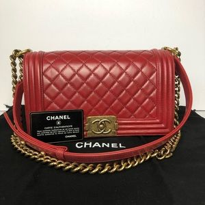"Chanel boy 10"" calfskin red GHW"